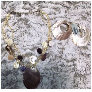 Cache 2pc Mother Of Pearl Earrings & Necklace